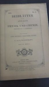 Rivista Beiblatter N° 3 Zu Den Annalen Der Physik Und Chemie 1896 Lipsia Verlag