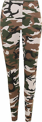 New Womens Camouflage Leggings Full Length Long Army Ladies Print Ankle 8 - 14