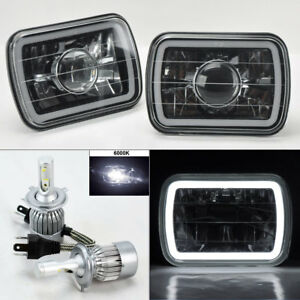 "7X6/"" Clear Projector Glass CCFL White Halo Headlights /& 6K 36W LED H4 Bulbs Plym"