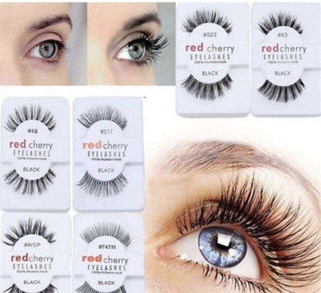 Human Hair Flutter Wispy False Eyelashes Red Cherry Eye Lashes Wsp
