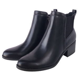 Women's Round Toe Faux leather Stacked Heel Western Ankle Bootie Boots Black