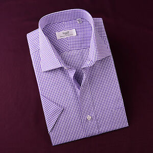 Purple Shepherd Check Mens Short Sleeve Business Casual Dress Shirt Designer B2b Ebay