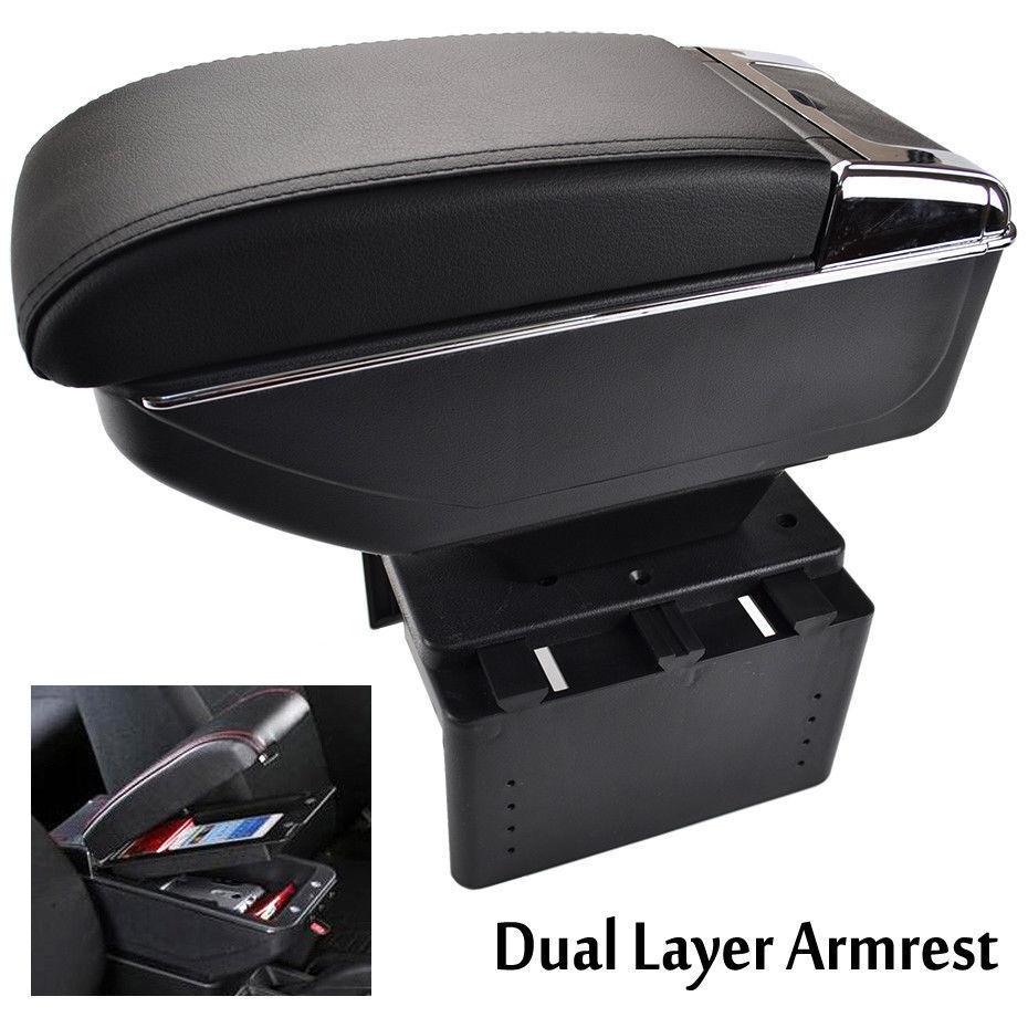 Armrest Center Armrest times Leather Cover Black//Red for Peugeot 307 2004