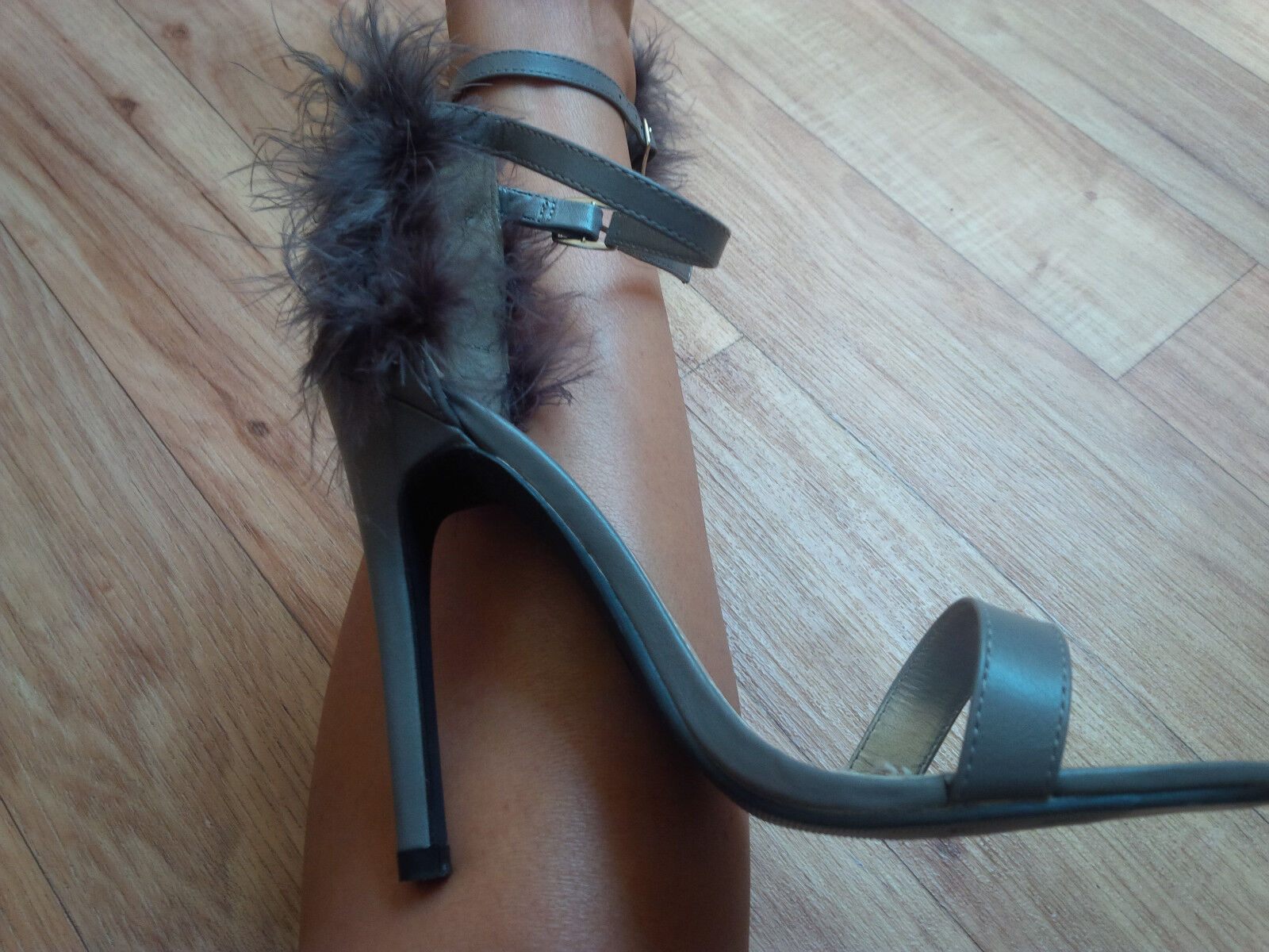 Grau Grau Grau Faux Fur Barely There Heels by Boohoo UK5 EU38 - Boxed with Dust Bags 36ce72