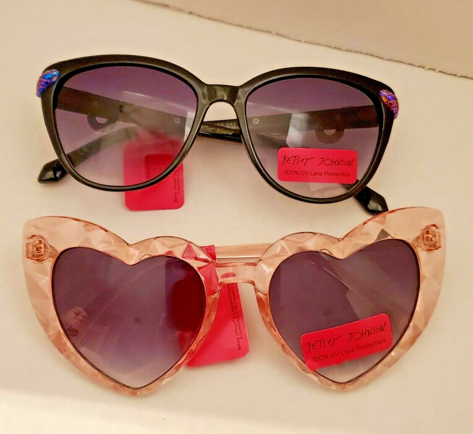 NWT Betsey Johnson Sunglasses 2 Pairs Slithering Around Black Crystal Clear Pink