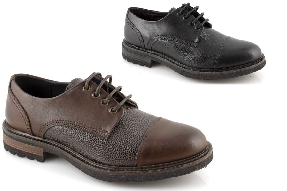 Chaussures Derby Homme Gino Tagli Noir Brun Chaussures à Lacets Classique Cuir