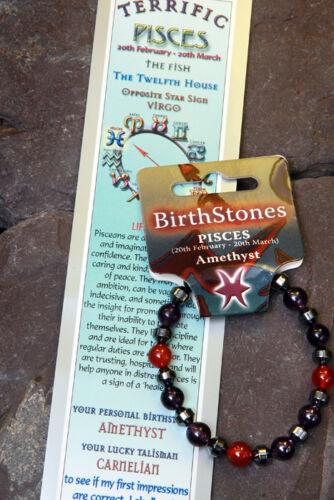 /'PISCES/' Gemstone /'Power Bracelet/' plus a free guide book /& bookmark.