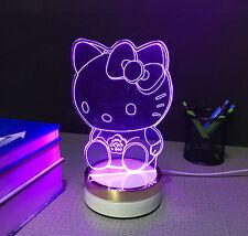 Hello Kitty  illusion 7colour 3D  LED Night Light Micro USB Table Desk Lamp