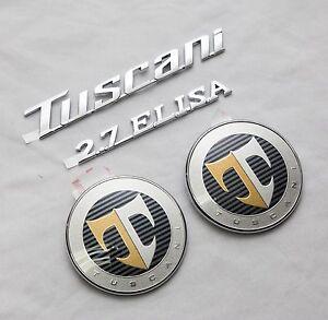 TUSCANI-2-7-ELISA-Hood-Rear-T-Logo-Emblem-Set-4pcs-For-Hyundai-Tiburon-Coupe