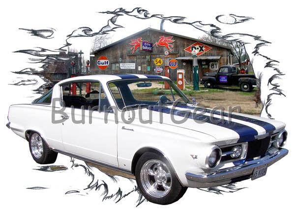 1965 Weiß Plymouth BarraCuda Custom Hot Rod Garage T-Shirt 65 Muscle Car Tees