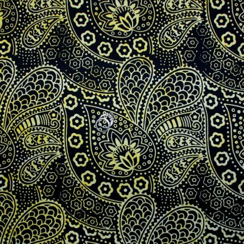 BonEful Fabric FQ Cotton Quilt Black Yellow BATIK Dot Flower Paisley Africa*n US