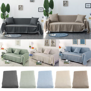 1/2/3/4 Seater Elastic linen Sofa Cover Couch Covers Furniture ...