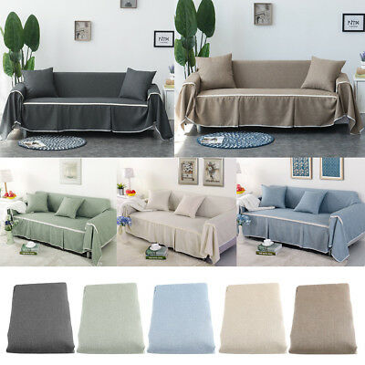 1/2/3/4 Seater Elastic linen Sofa Cover Couch Covers Furniture Protector US  | eBay