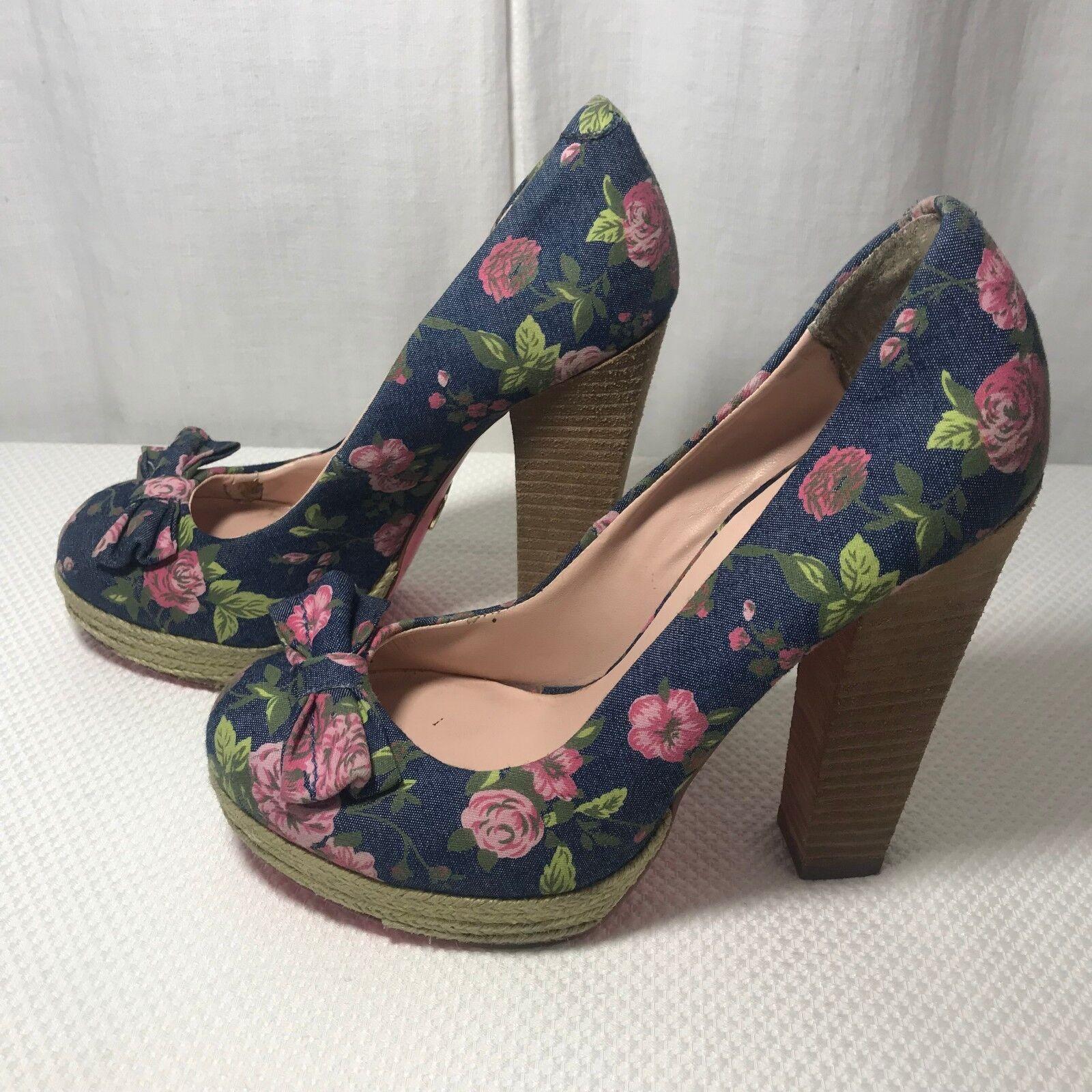 Betsey Johnson Maggi 7 Denim Floral High Heel Platform Pumps shoes Espadrilles