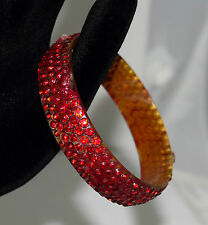 "Vintage Celluloid Red Rhinestone Bangle Bracelet 7 1/2"" Circumference 5/8"" Wide"
