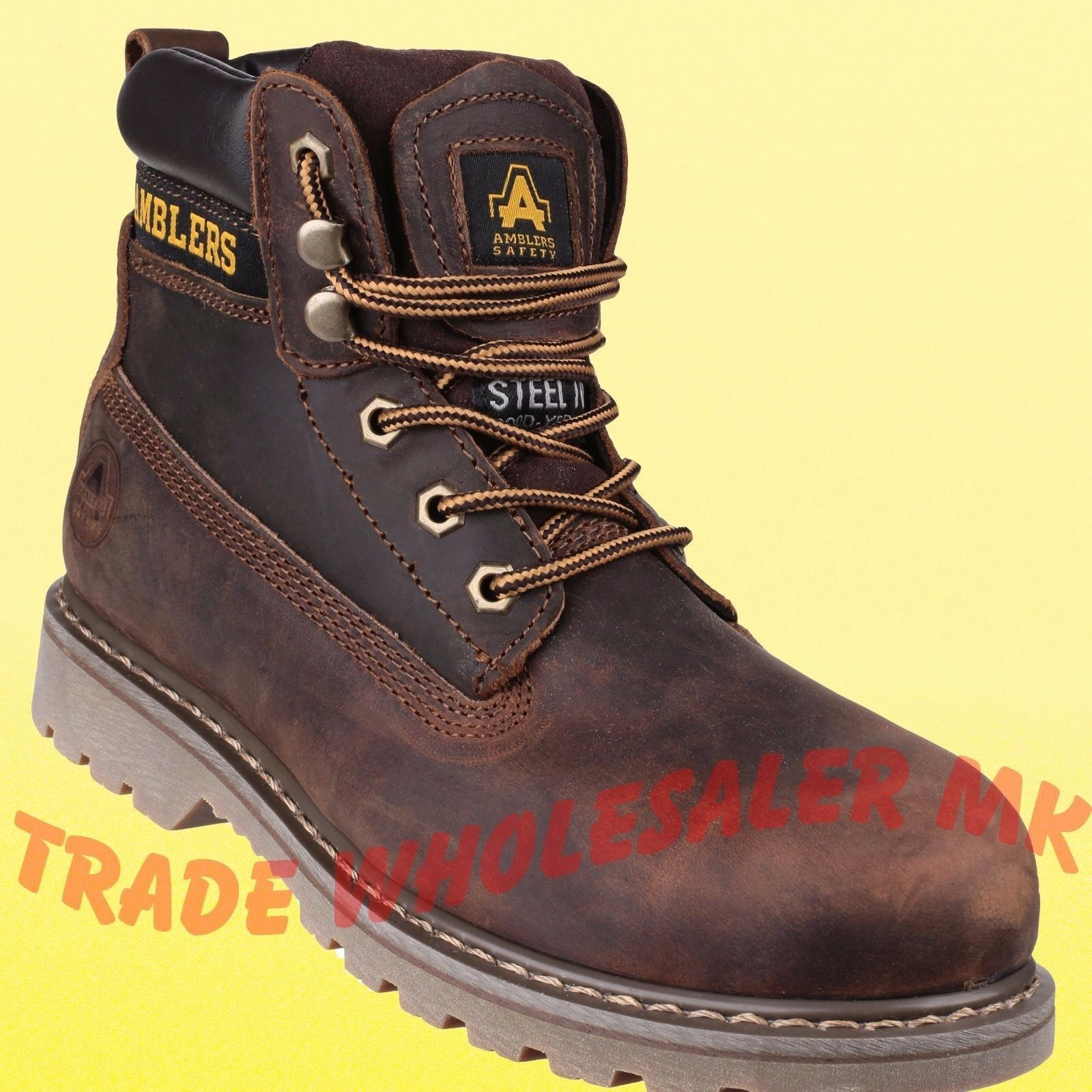 Amblers FS164 Braun Leder Lace Up Safety Work Stiefel Steel Toe & Midsole