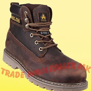 ce30ade9012f4 Amblers FS164 Brown Leather Lace Up Safety Work Boots Steel Toe ...