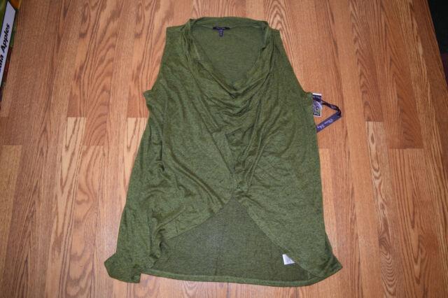 NWT Womens OLIVIA SKY Sleeveless Open Drape Cardigan Wrap Olive Green Sz XL f2ff0c9df