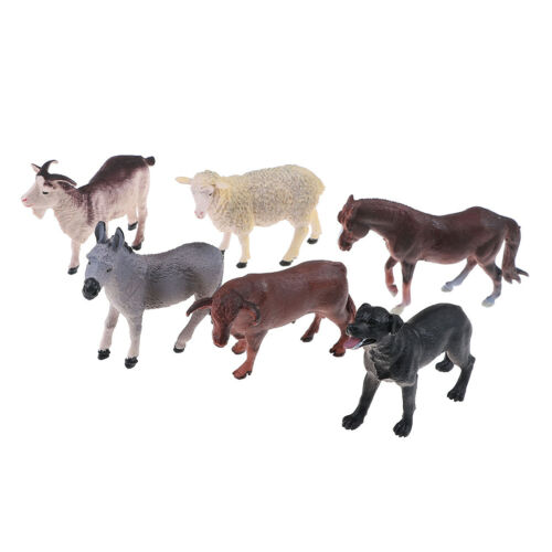 6Pcs Simulated Farm Animal Sheep Dog Horse Donkey Ox Cow Set Plastic Model JD