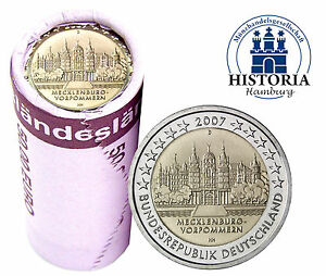 Schweriner Schloss 25 X 2 Euro Münzen Deutschland 2007 Bankfrisch
