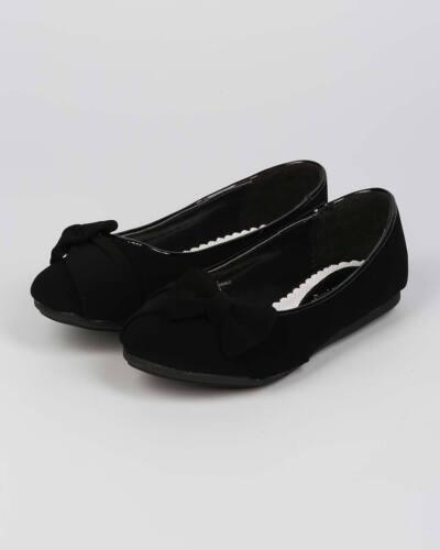 New Girl Little Angel Teshi-400E Nubuck Bow Decor Ballet Loafer Flat