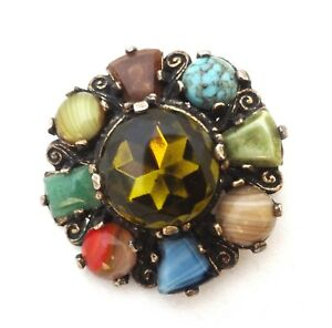 Vintage-Signed-Miracle-Scottish-Celtic-Brooch-Pin-Round-Multi-Color-Costume