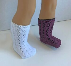 Lot-2-Socks-Patterned-White-Plum-Cranberry-for-18-034-American-Girl-Doll-Clothes-AG
