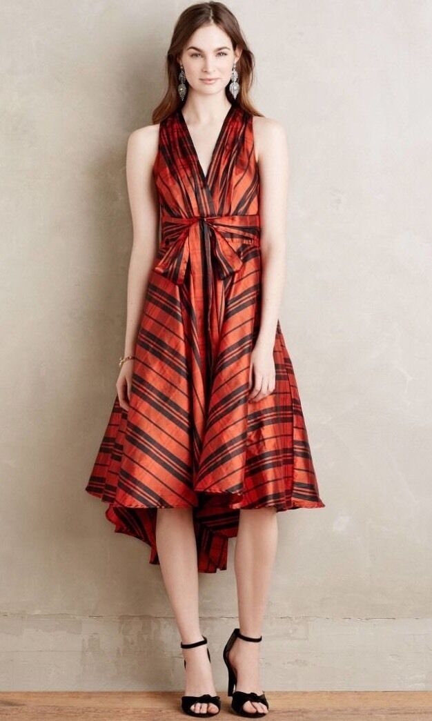 NEW Anthropologie Athdara Red Plaid Dress Size 12