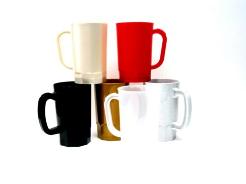 12 1 Pint Beer Steins-Mugs 2 Red Black Gold Clear Granite Pearl White Made USA*