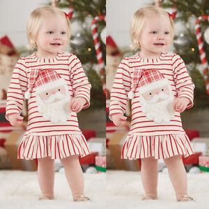 Usa Kids Baby Girl Stripe Santa Claus Long Sleeve Dress Christmas
