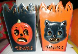 VINTAGE-STYLE-2004-SPOOKY-HOLLOW-Candle-Holders-2-Pcs-Excellent-Condition