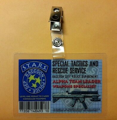 Resident Evil ID Badge-STARS  Alpha Team Leader  Weapons Specialist cosplay prop