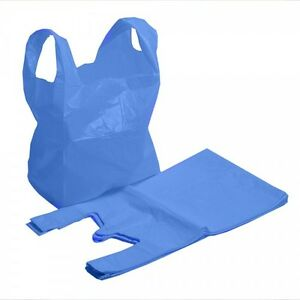 "500 x New Strong MEDIUM size BLUE Plastic Vest Carrier Bags 11""x 17""x 21"" OFFER"