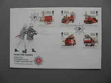 UK ISLE OF MAN, cover FDC 1991, Manx fire engines, fire brigade, Volvo Dennis