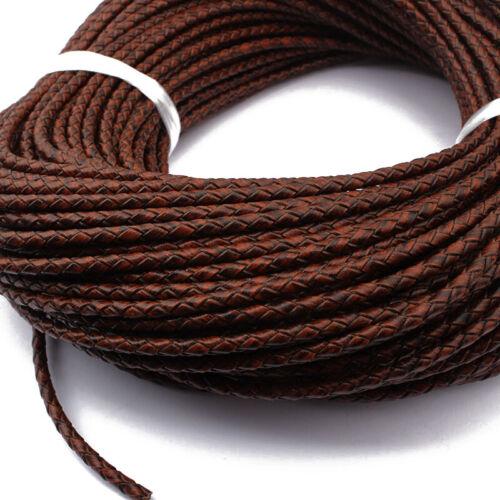 1 M brun foncé 3.5 mm Rond en Cuir Véritable Cordon Bracelet Collier Making