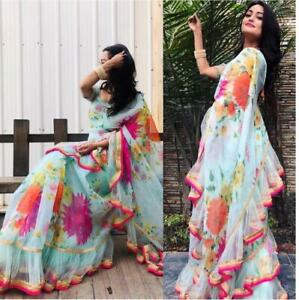 Saree Indian Bollywood Designer Saree Georgette Satin Ruffle Net Party Wear Ss Ebay