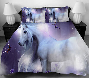 White Horse Bedding Set Twin Full Queen Size Duvet Cover