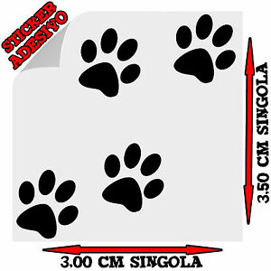 Sticker-Adesivo-Decal-Set-4-Impronte-Zampe-Zampette-Gatto-Auto-Moto-Tuning