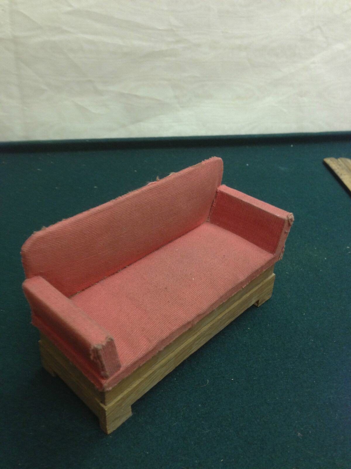 Dollhouse Miniature Wood Sofa w Upholstery and Wood  Antique Furniture Germany