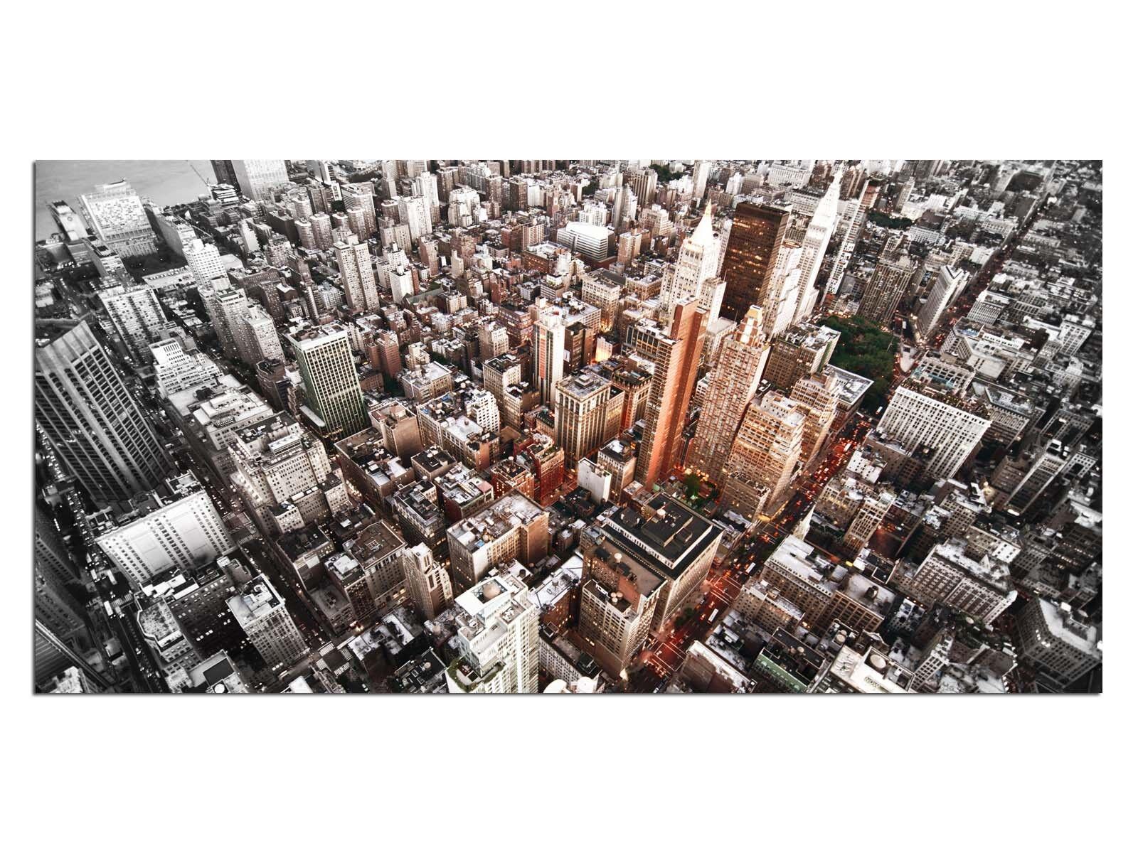Deco Glas Bild EG4100500895 NEW YORK USA Stadt Orange Größe 39,37  x 19,68  HD