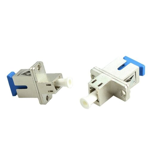 2x SC to LC Metal Housing Adapter Connecter Converter For Optic Fiber Cables