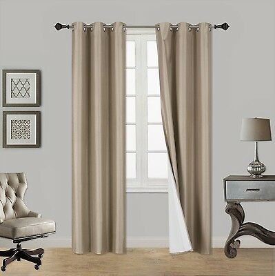 1 Set Heavy Lined Thermal Blackout Grommet Window Curtain Panel ADAM TAUPE TAN