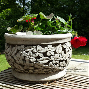 FLOWER POT Garden Ornament Hand Cast Stone Planter Patio Home Decor ...