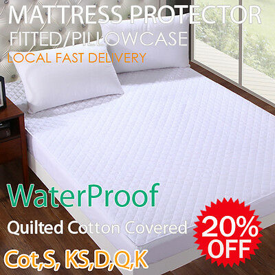 Waterproof Quilted Fitted Mattress or Pillow Protector King/Queen/Double/SB/KSB