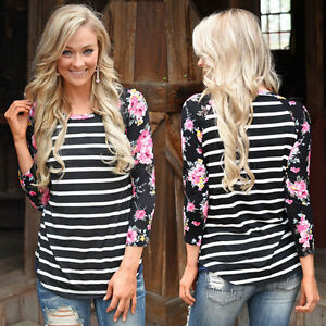 Womens-Casual-3-4-Sleeve-Tops-Floral-Printed-Crew-Neck-Blouse-Striped-T-Shirts