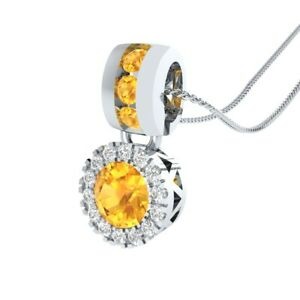 0-65-Ct-Round-Citrine-and-Sapphire-Halo-Pendant-18-034-Necklace-14k-White-Gold-GP