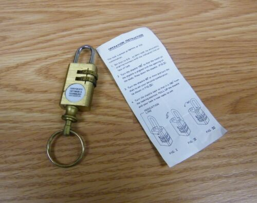 Corporate Software /& Technology Gold Toned Key Chain Combination Lock **READ**