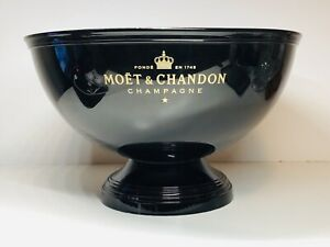 RARE-Moet-Chandon-Ice-Bucket-Extra-Large-14-Inch-Wide-Black-With-Gold
