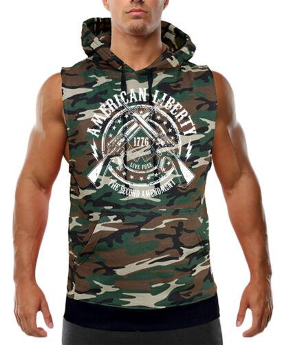 Men/'s American Liberty 2nd Amendment Camo Sleeveless Vest Hoodie Army Military