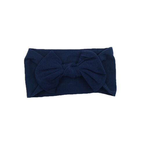 Baby Girls Wide Nylon Bow Headband Knot Head Wraps One Size Fits Most 20 Colours